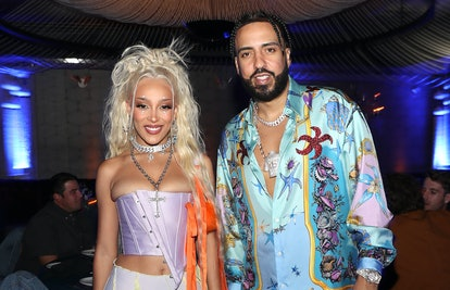 Doja Cat and French Montana attend Doja Cat's 'Planet Her' album dinner at Beauty & Essex on June 24...