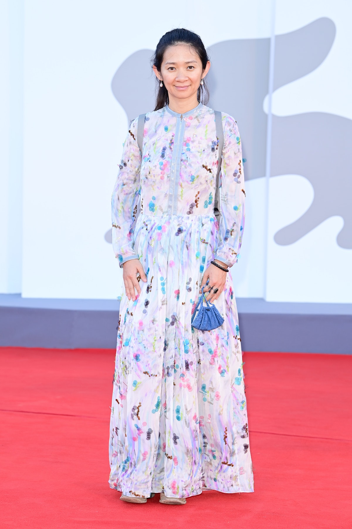 """Chloé Zhao attends the red carpet of the movie """"Madres Paralelas"""" during the 78th Venice Internation..."""