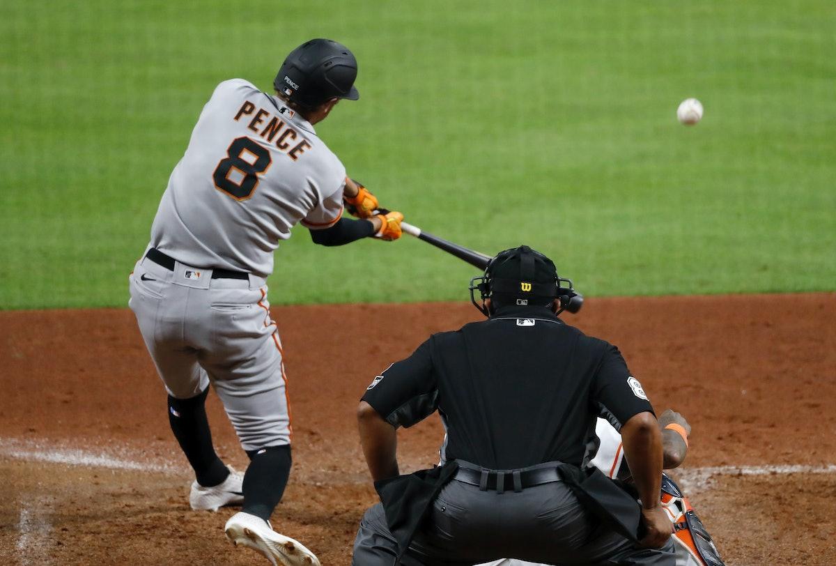 HOUSTON, TEXAS - AUGUST 11: Hunter Pence #8 of the San Francisco Giants hits a three-run home run in...