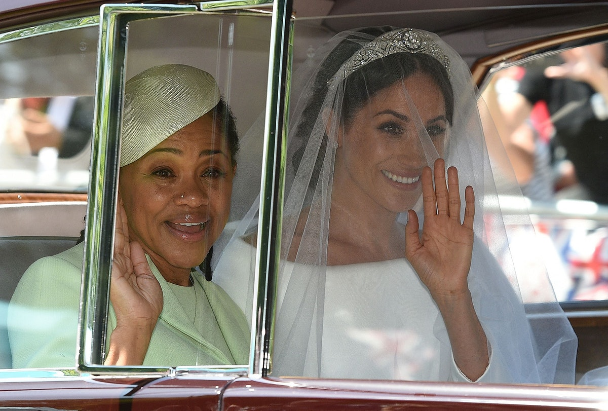 TOPSHOT - Meghan Markle (R) and her mother, Doria Ragland, arrive for her wedding ceremony to marry ...