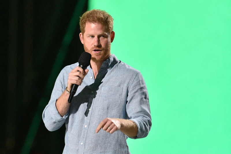 """Co-Chair Britain's Prince Harry, Duke of Sussex, speaks onstage during the taping of the """"Vax Live"""" ..."""