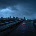 NEW ORLEANS LA - AUGUST 30 The downtown skyline  is largely shrouded in darkness during the dawn as ...