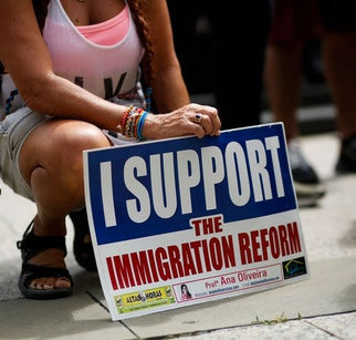 People attend a protest supporting DACA, Deferred Action for Childhood Arrivals, at Foley Square in ...