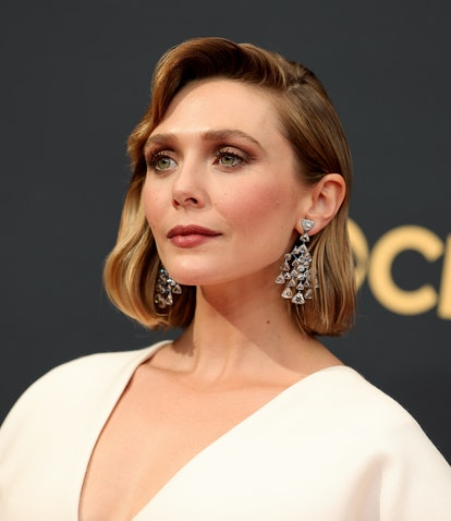 Elizabeth Olsen at the 2021 Emmy Awards wearing a dress designed by Mary Kate and Ashley.