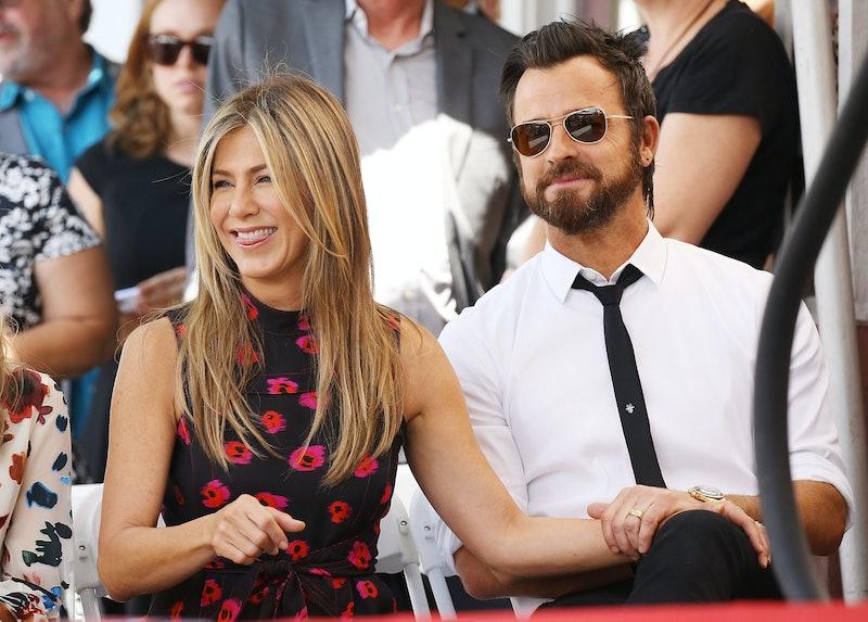 Jennifer Aniston and Justin Theroux attend Jason Bateman's Hollywood Walk of Fame ceremony on July 2...
