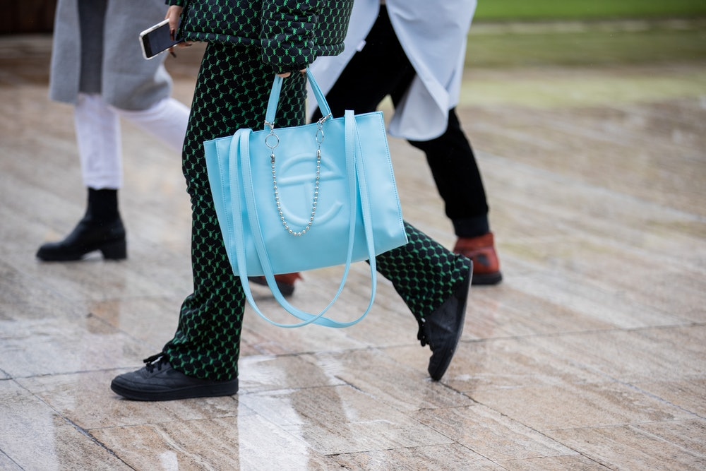 PARIS, FRANCE - MARCH 02: A guest is seen wearing blue bag outside Y/Project during Paris Fashion We...