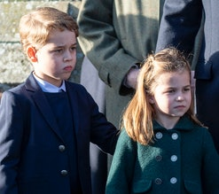 KING'S LYNN, ENGLAND - DECEMBER 25: Prince George of Cambridge and Princess Charlotte of Cambridge a...