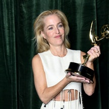 'The Crown' star Gillian Anderson poses with her Emmy award for 'Outstanding Supporting Actress for ...
