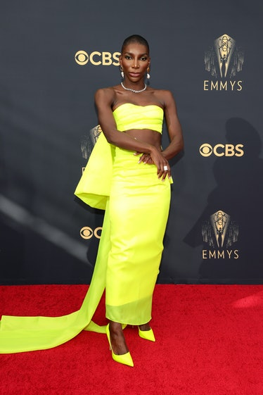 LOS ANGELES, CALIFORNIA - SEPTEMBER 19: Michaela Coel attends the 73rd Primetime Emmy Awards at L.A....