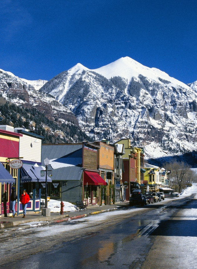 Telluride, Colorado, a resort ski town and ex mining community in Colorado's Rocky Mountains.