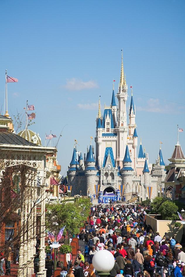 View along Main Street to Cinderella Castle, Magic Kingdom, Orlando, Florida, USA