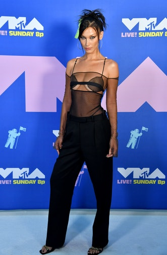 NEW YORK, NEW YORK - AUGUST 30: Bella Hadid attends the 2020 MTV Video Music Awards, broadcast on Su...