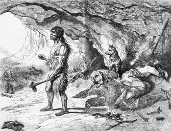(Original Caption) Neanderthal Man in front of his cave.