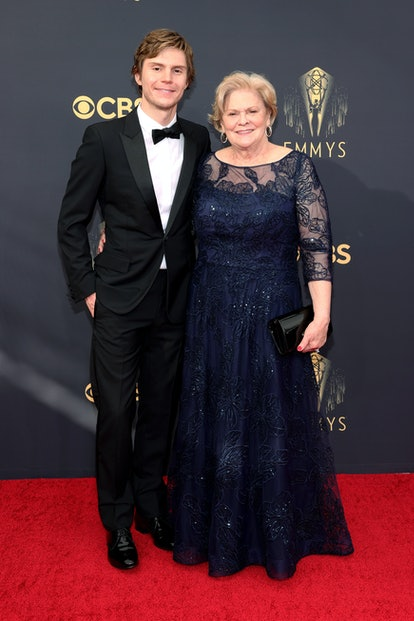 Evan Peters attend the 73rd Primetime Emmy Awards with his mother
