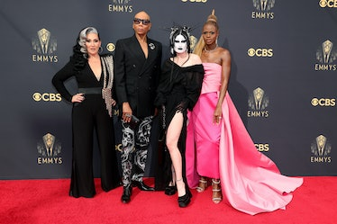 LOS ANGELES, CALIFORNIA - SEPTEMBER 19: (L-R) Michelle Visage, RuPaul, Gottmik, and Symone attend th...