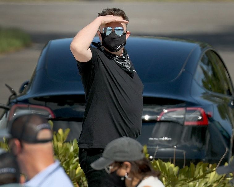 CAPE CANAVERAL, FLORIDA - SEPTEMBER 15:  Elon Musk arrives to watch as Inspiration4 crew members Jar...