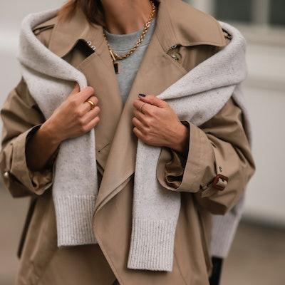 HAMBURG, GERMANY - AUGUST 30: Elise Soho wearing Hey Soho grey midi dress and Stella McCartney beige...