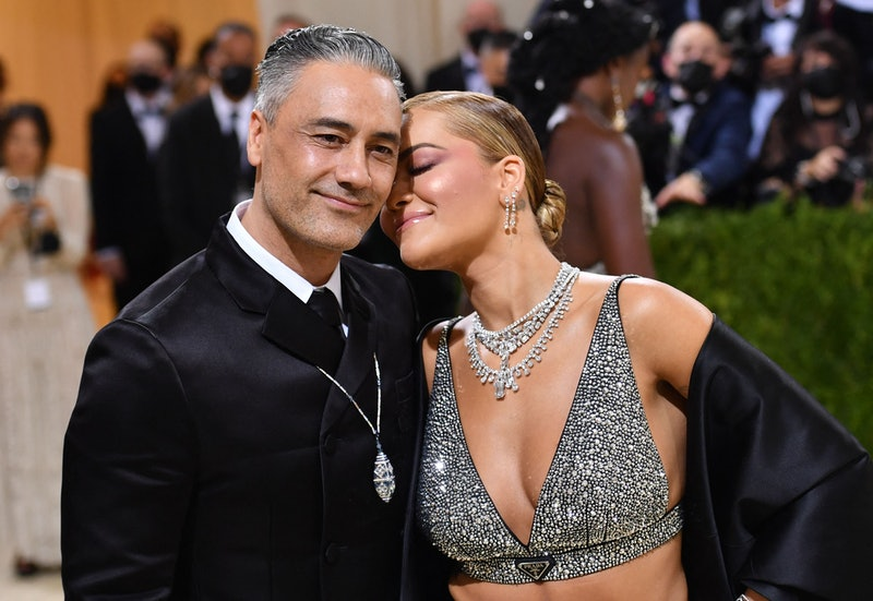 English singer-songwriter Rita Ora and New Zealand director/actor Taika Waititi arrive for the 2021 ...