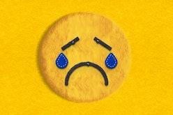 sad felt emoji crying