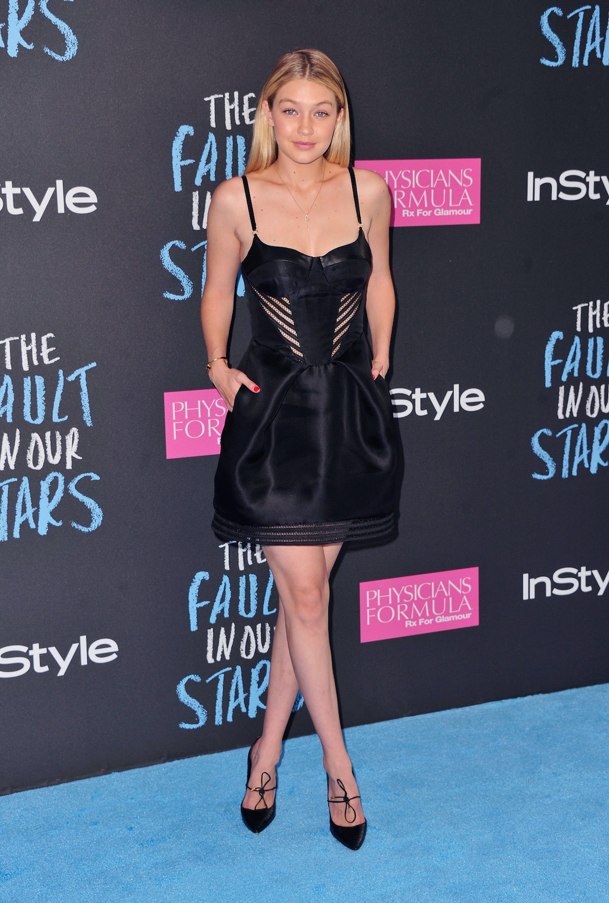 """NEW YORK, NY - JUNE 02:  Model Gigi Hadid attends """"The Fault In Our Stars"""" premiere at Ziegfeld Thea..."""