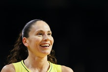 EVERETT, WASHINGTON - SEPTEMBER 07: Sue Bird #10 of the Seattle Storm looks on during the first quar...