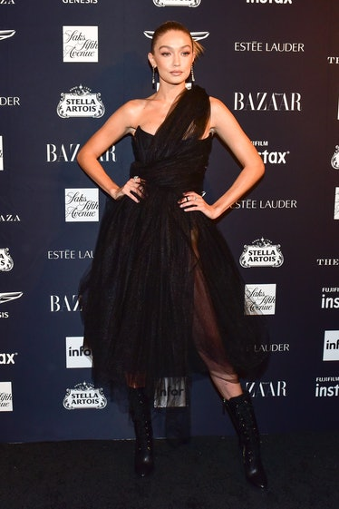 NEW YORK, NY - SEPTEMBER 07:  Gigi Hadid attends The Worldwide Editors Of Harper's Bazaar Celebrate ...