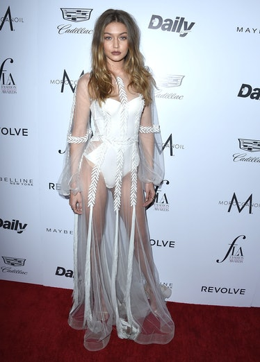 """WEST HOLLYWOOD, CA - MARCH 20:  Gigi Hadid arrives at the The Daily Front Row """"Fashion Los Angeles A..."""