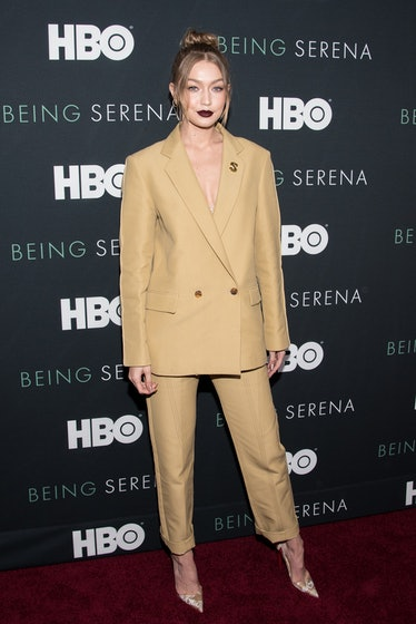 """NEW YORK, NY - APRIL 25:  Gigi Hadid attends the """"Being Serena"""" New York Premiere at Time Warner Cen..."""