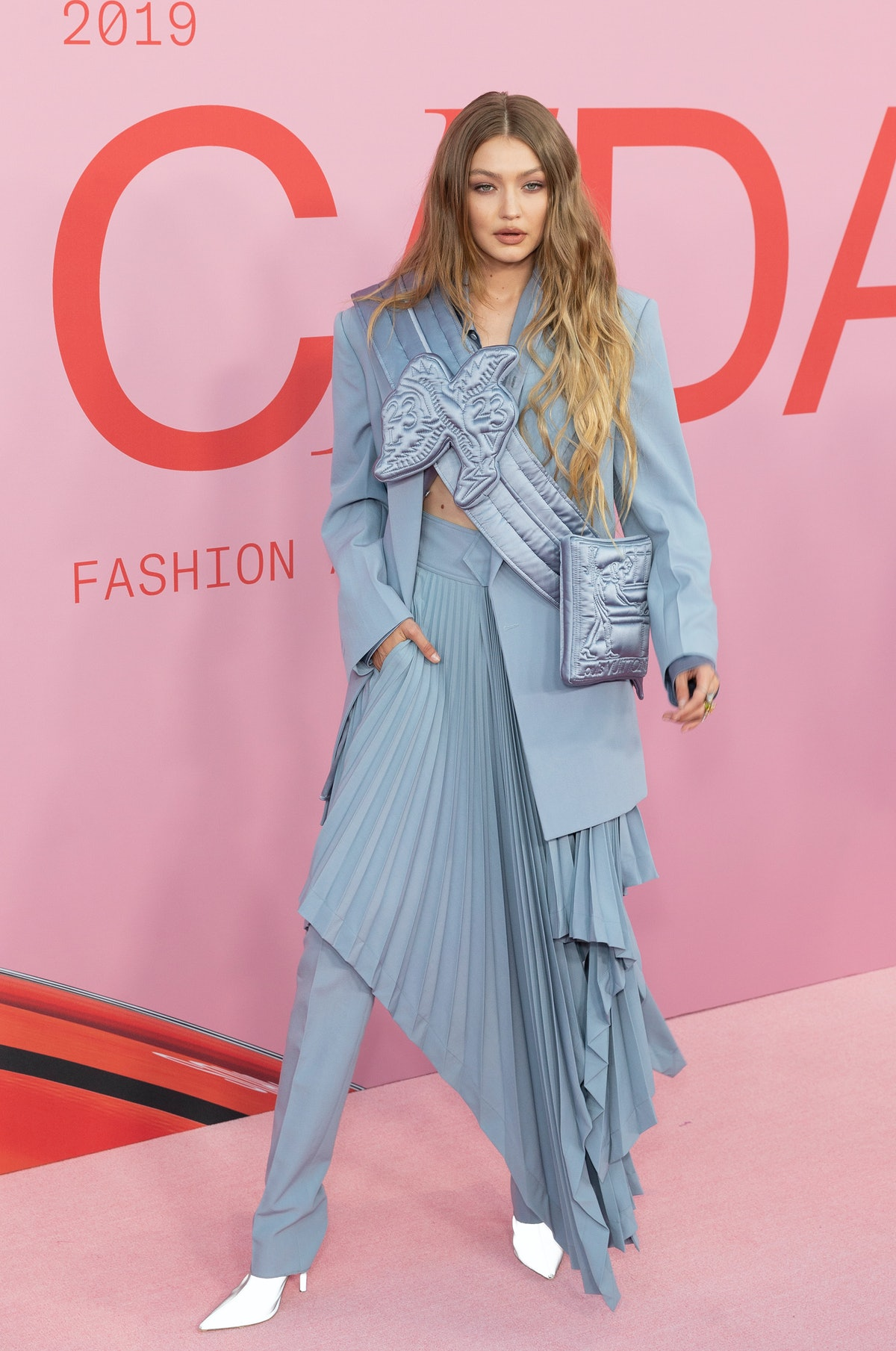 BROOKLYN MUSEUM, NEW YORK, UNITED STATES - 2019/06/03: Gigi Hadid wearing dress by Off-White attends...