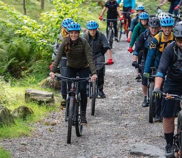 WINDERMERE,UNITED KINGDOM -  SEPTEMBER 21:  Catherine, Duchess of Cambridge rides a mountain bike du...