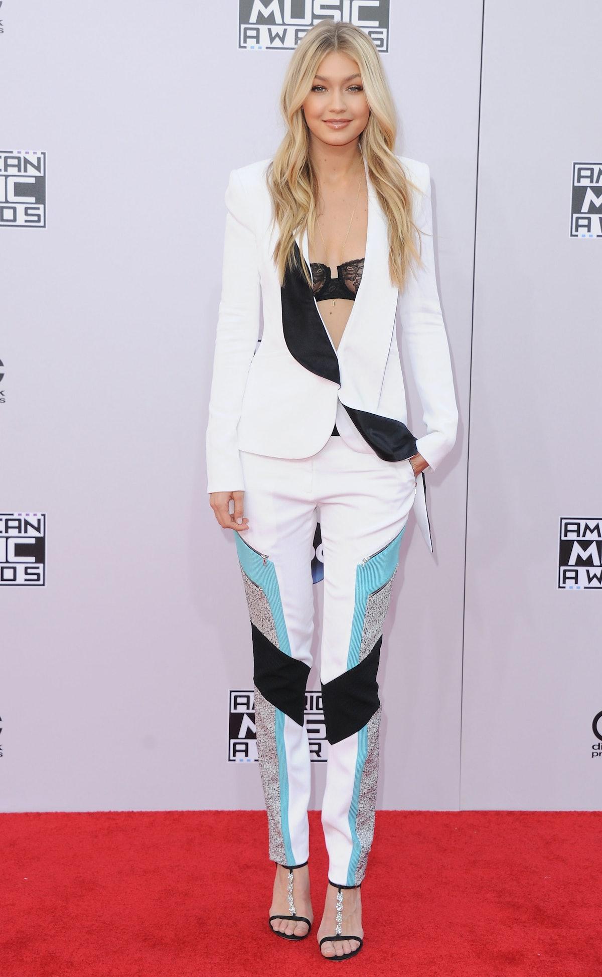 LOS ANGELES, CA - NOVEMBER 23:  Model Gigi Hadid arrives at the 2014 American Music Awards at Nokia ...