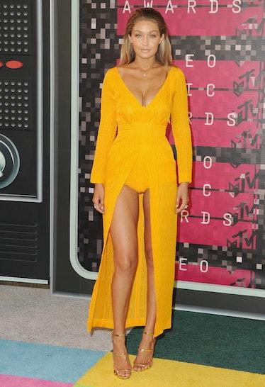 LOS ANGELES, CA - AUGUST 30:  Model Gigi Hadid arrives at the 2015 MTV Video Music Awards at Microso...