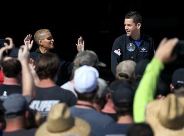 CAPE CANAVERAL, FLORIDA - SEPTEMBER 15: Inspiration4 crew members Jared Isaacman (R), and Sian Proct...