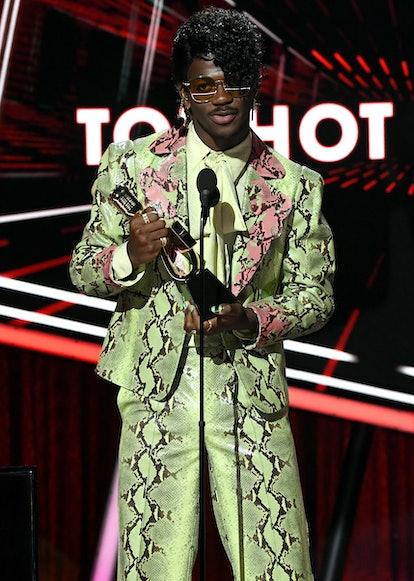Lil Nas X wearing green snakeskin at the 2020 Billboard Music Awards.