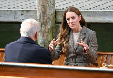 WINDERMERE, ENGLAND - SEPTEMBER 21: Catherine, Duchess of Cambridge embarks on a boat trip with two ...