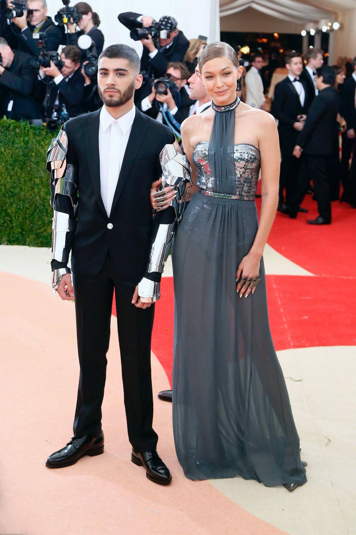 "NEW YORK, NY - MAY 02:  Gigi Hadid and Zayn Malik attend ""Manus x Machina: Fashion in an Age of Tech..."