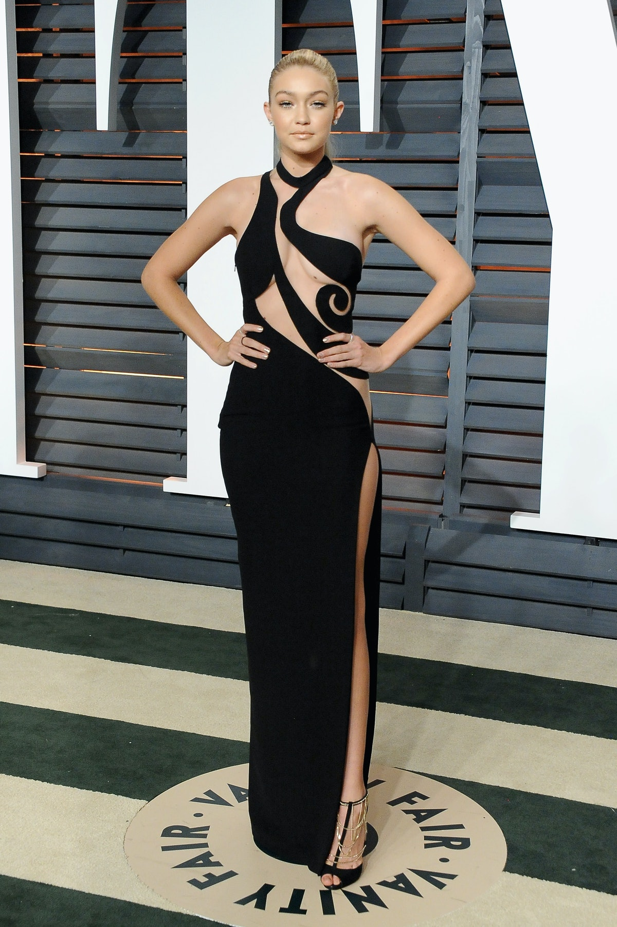 BEVERLY HILLS, CA - FEBRUARY 22:  Model Gigi Hadid attends the 2015 Vanity Fair Oscar Party hosted b...