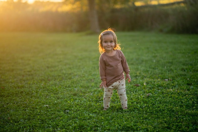 An adorable little brunette toddler walks in the grass on a summers evening.  She is dressed in a br...