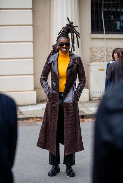 LONDON, ENGLAND - SEPTEMBER 20: British rapper Little Simz is seen wearing brown coat outside Fashio...