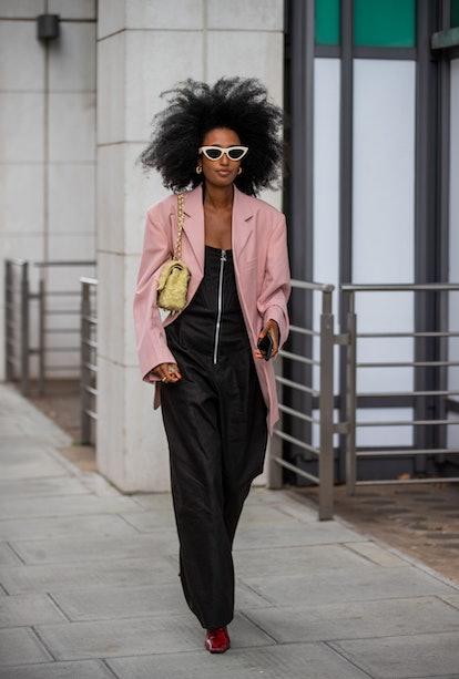 LONDON, ENGLAND - SEPTEMBER 17: A guest is seen outside Nensi Dojaka during London Fashion Week Sept...