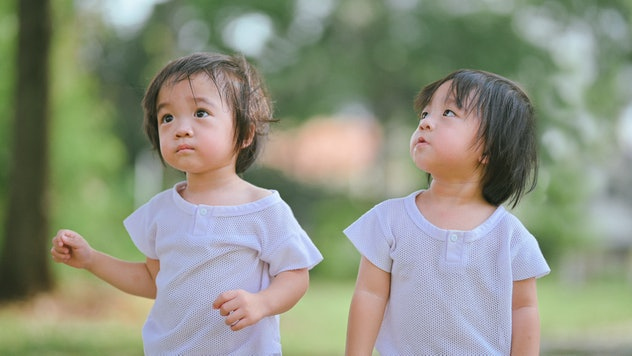 cute asian chinese twin baby boys looking curiously at lawn public park