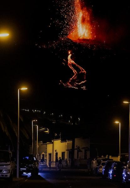 LA PALMA, SPAIN - SEPTEMBER 21: The Cumbre Vieja volcano spews lava and ash in the area of Cabeza de...
