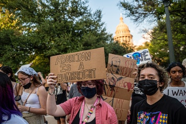AUSTIN, TX - SEPT 1: Pro-choice protesters march outside the Texas State Capitol on Wednesday, Sept....