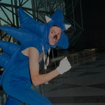 NEW YORK, NY - OCTOBER 11:  A Comic Con attendee wearing a Sonic the Hedgehog costume poses during t...