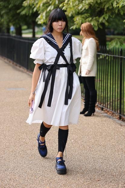 LONDON, ENGLAND - SEPTEMBER 20: Guest wearing nautical style dress attends ROKSANDA at the Serpentin...