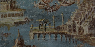 Roman fresco depicting a panorama of a port, usually identified with that of Pozzuoli. Second half o...