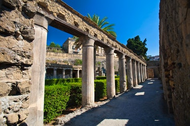 The ruins of Herculaneum. a large Roman town destroyed in 79AD by a volcanic eruption from Mount Ves...