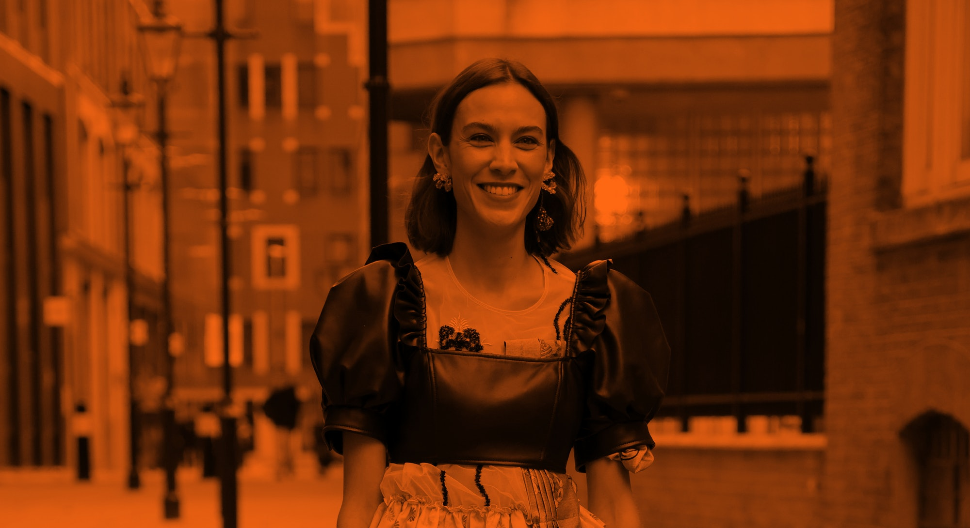 LONDON, ENGLAND - SEPTEMBER 20: Alexa Chung attends Simone Rocha at St Bartholomew's Hospital during...