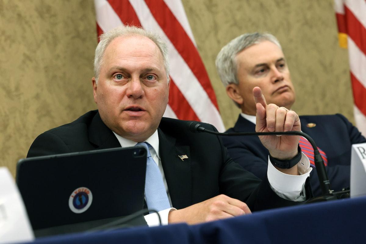WASHINGTON, DC - JUNE 29: U.S. Rep. Steve Scalise (L) (R-LA) speaks alongside to U.S. Rep. James Com...