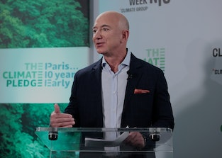 NEW YORK, NEW YORK - SEPTEMBER 20: Jeff Bezos speaks during the Climate Week NYC Leaders' Reception ...